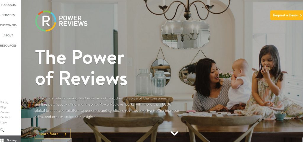 Image of Powerreviews.com rating and reviews platform homepage