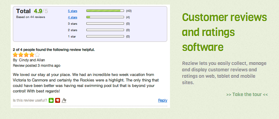Image of Reziew.com rating and reviews platform homepage
