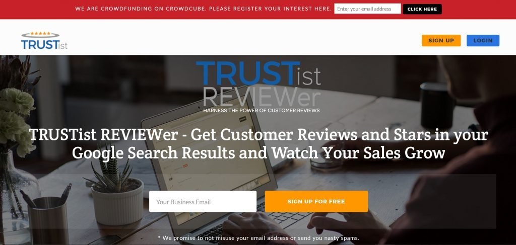 Image of Trustistreviewer.com rating and reviews platform home page