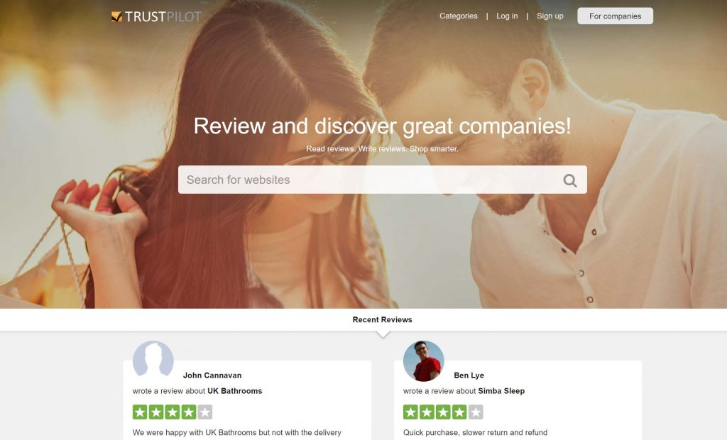 Image of Trustpilot.com rating and review platform homepage