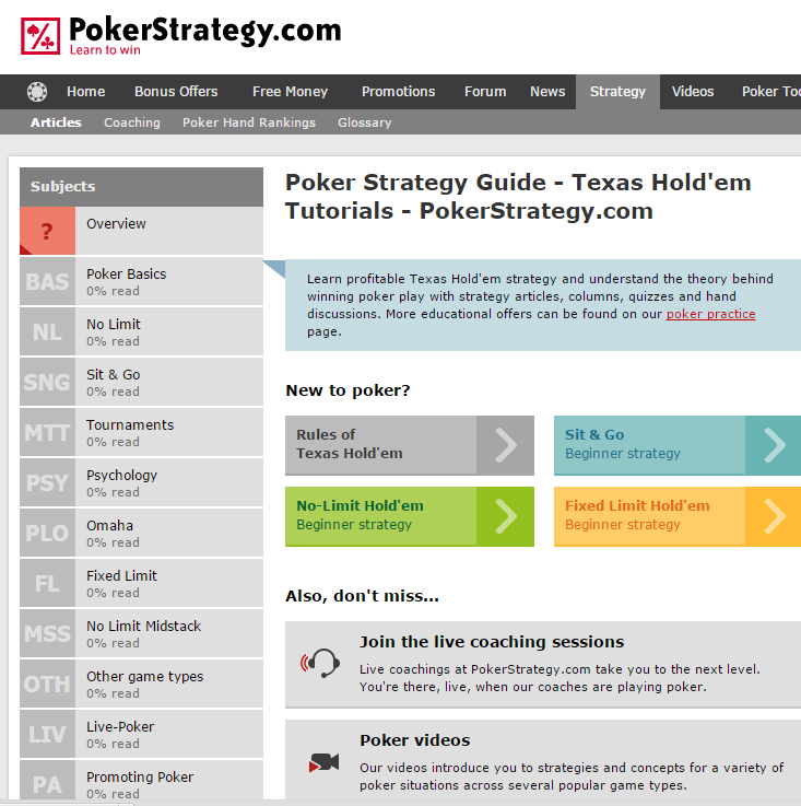Image of Pokerstrategy.com homepage