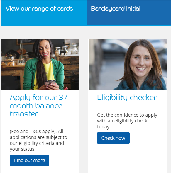Image of women models on Barclaycard.com site