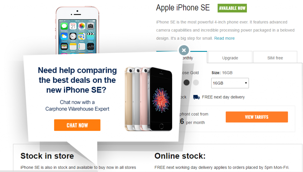 Image of Carphonewarehouse.com live chat
