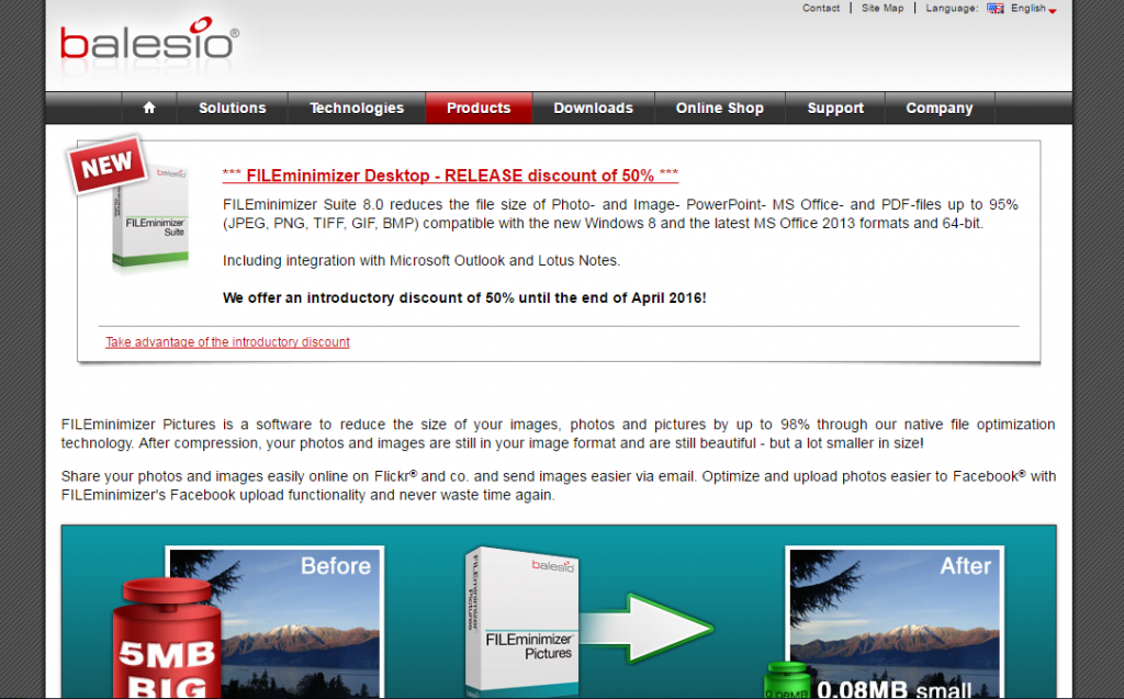 Image of Fileminimizer homepage from balesio.com