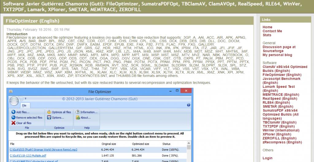 image of fileoptimizer homepage from nikkhokkho.sourceforge.net