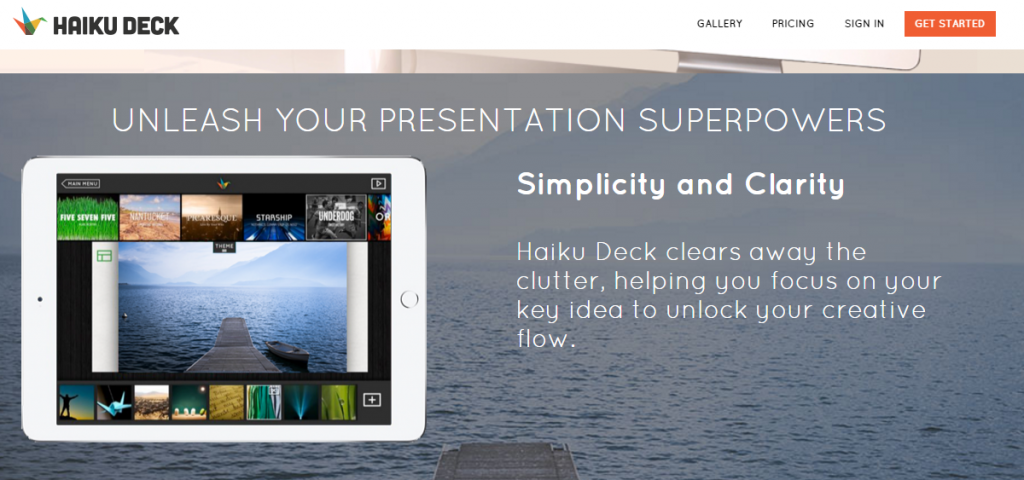 Image of haikudeck.com homepage