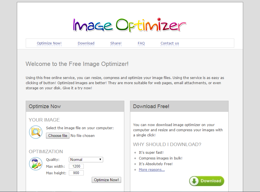 Image of imageoptimizer.net homepage