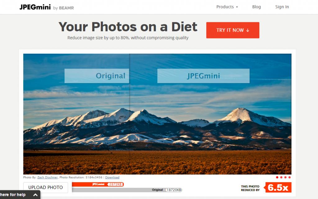 image of jpegmini.com homepage