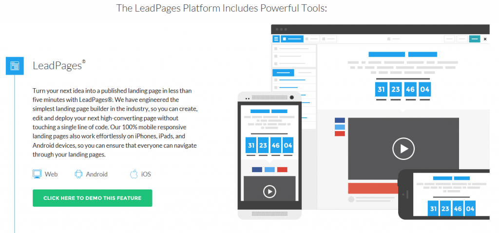 Image of Leadpages.com homepage