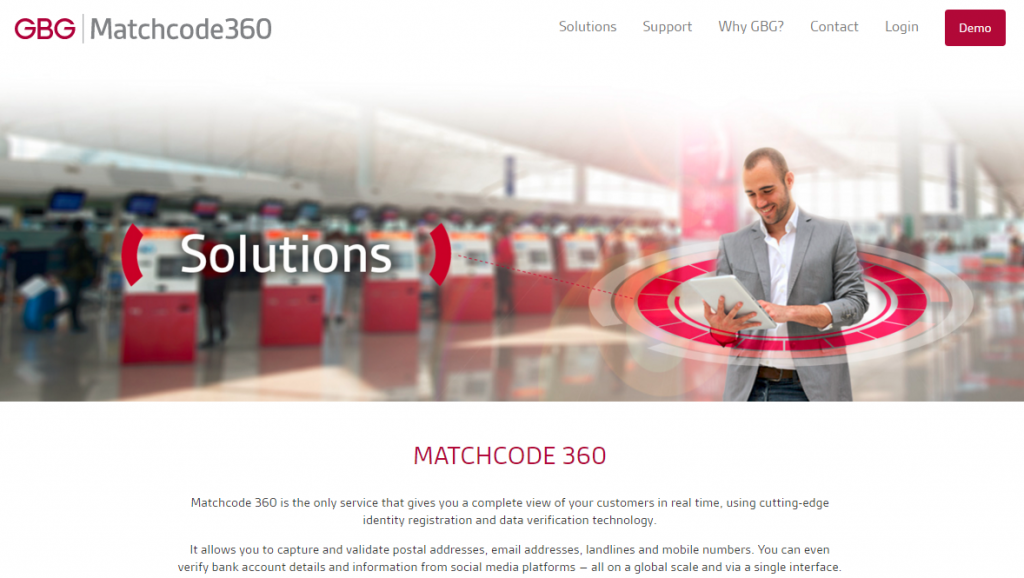 Image of matchcodeglobal.com solutions page