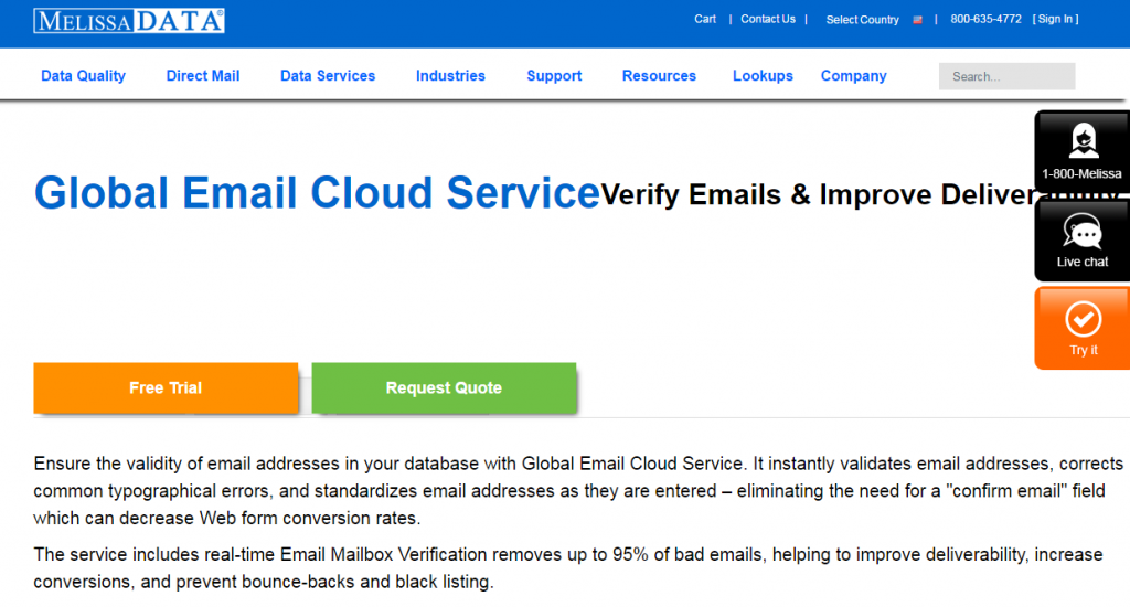 Image of MelissaData.com global email cloud service