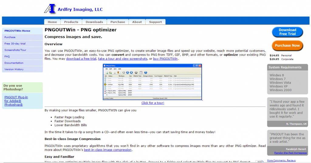 Image of PNGOUTWin homepage from http://www.ardfry.com
