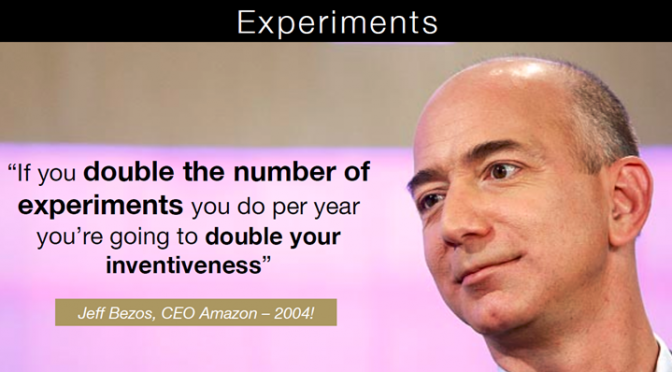 Image of Jeff Bezos, CEO of Amazon, about experiments