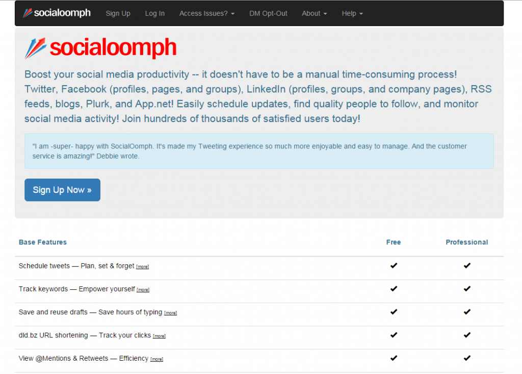 Image of socialoomph.com homepage