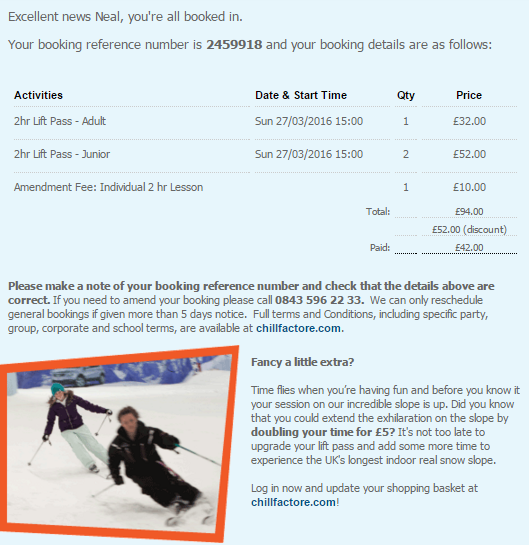 Image of Chillfactore transactional email