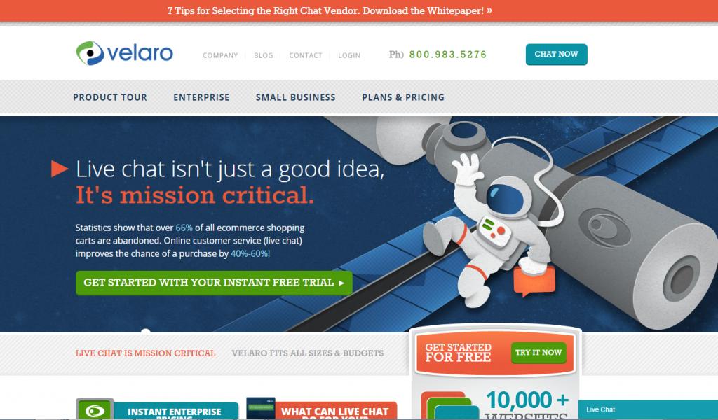 Image of Velero.com homepage