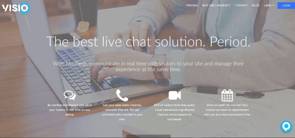 Image of Vis.io homepage for live chat