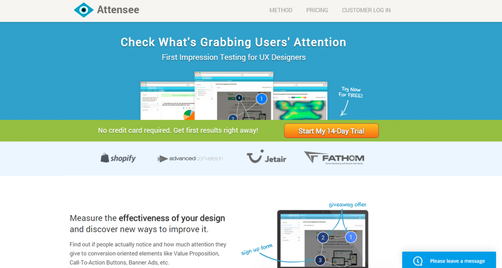 Image of Attensee.com homepage