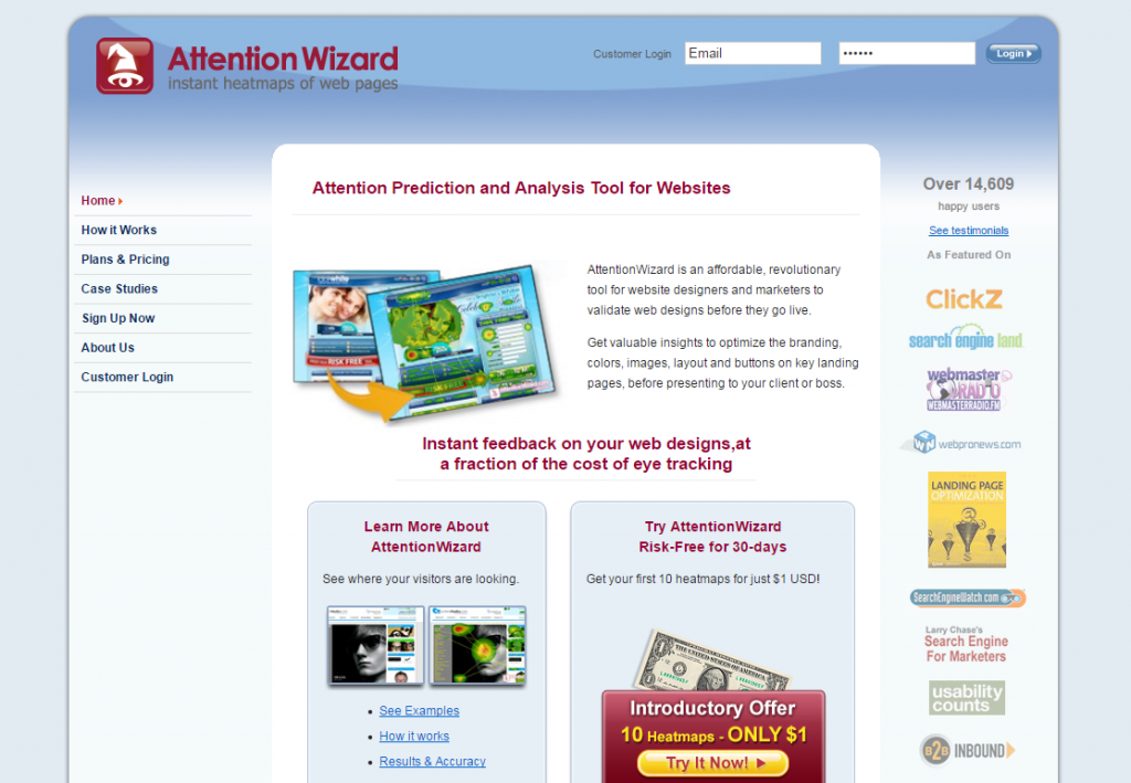 Image of attentionwizard.com homepage