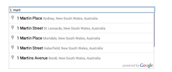 Image of Google autocomplete address finder homepage