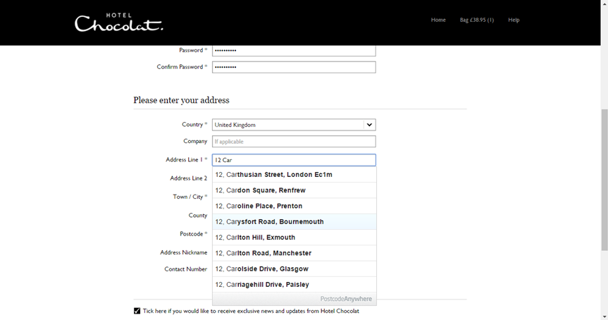 Image of Hotelchocolat.com address lookup in checkout