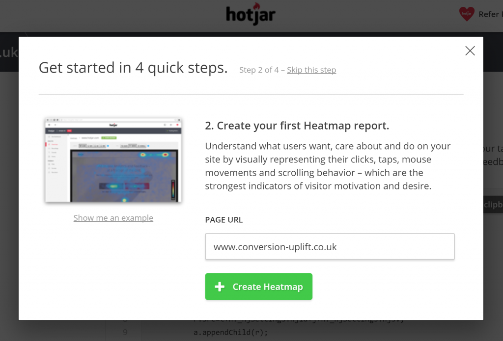 Customer onboarding tools guide and educate new customers like this tour on Hotjar
