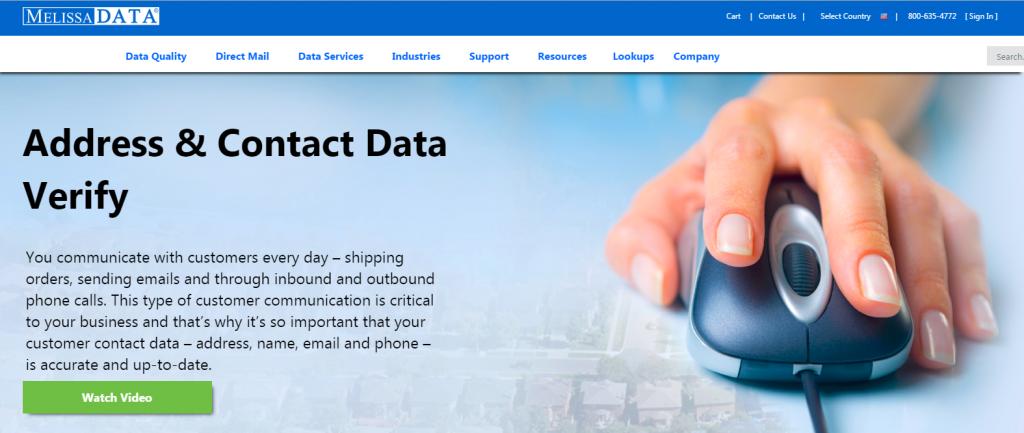 Image of Melissadata.com homepage
