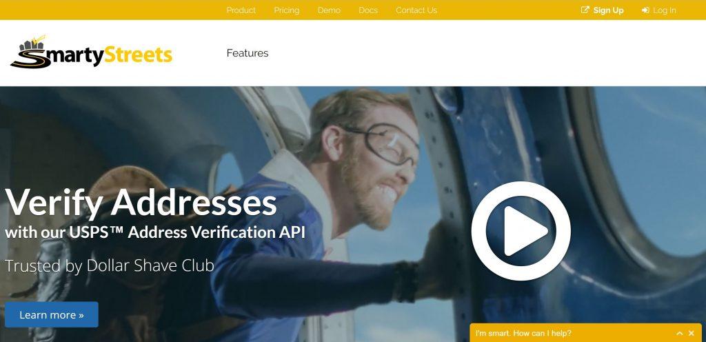 Image of Smartystreets.com homepage