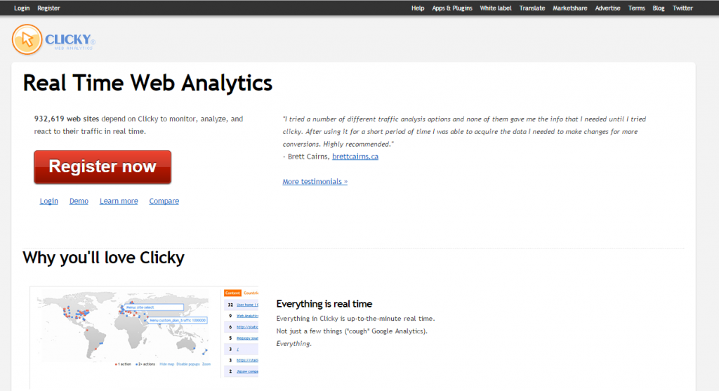 Image of Clicky.com analytics homepage