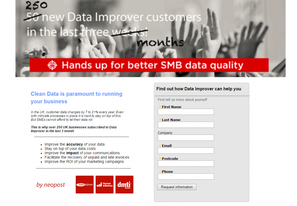 Image of Dataimprover homepage