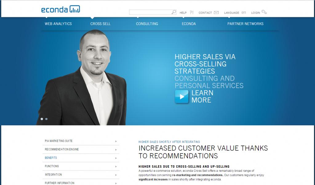 Image of Econda.com homepage