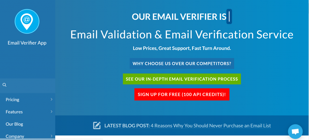 Image of emailverifierapp.com homepage
