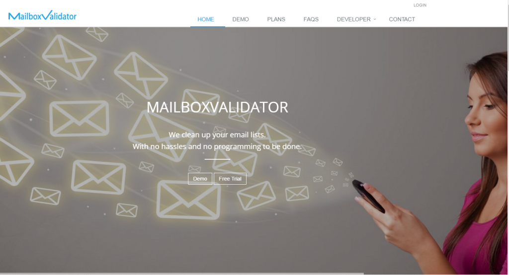 Image of mailboxvalidator homepage