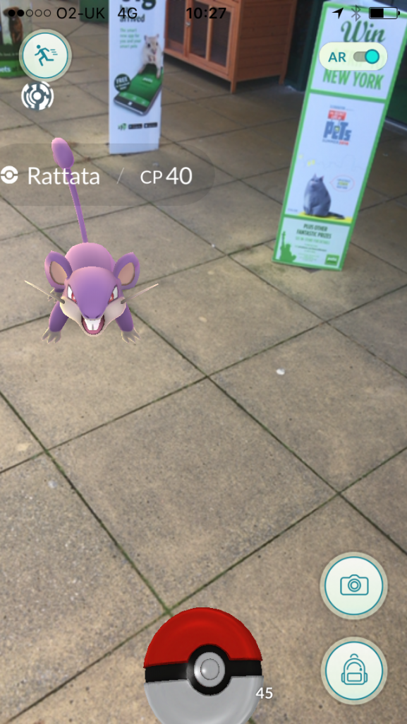 Image of Pokemon Rattata outside Pets at Home store