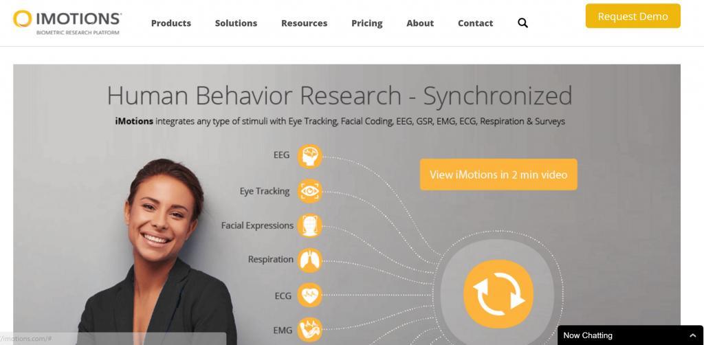 Image of iMotions.com homepage