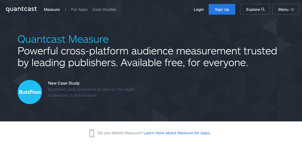 Image of quantcast.com/measure homepage