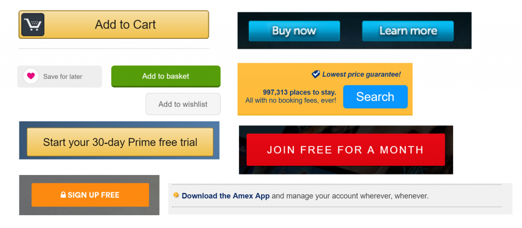 Image of call to action buttons and hyperlink