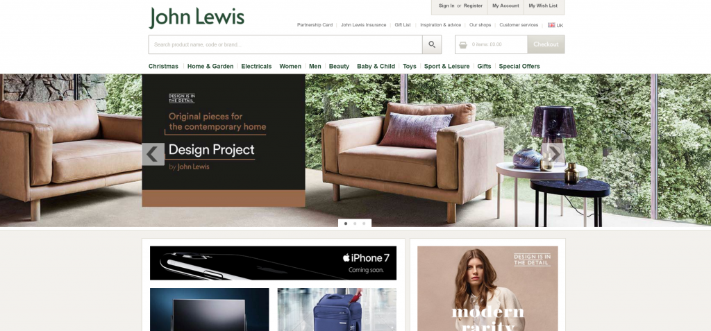 Hero image from Johnlewis.co.uk
