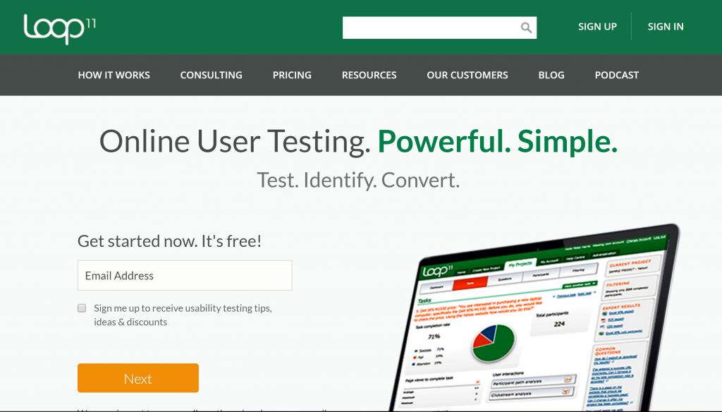 Loop11.com homepage