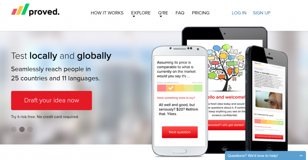 Proved.co homepage