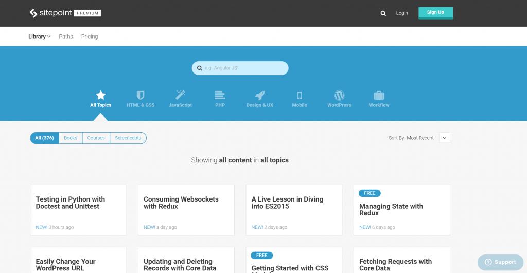 Sitepoint.com premium homepage