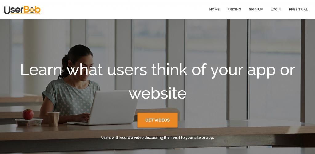 Userbob.com homepage