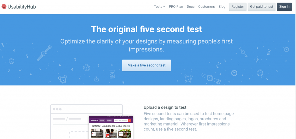 fivesecondtest.com homepage