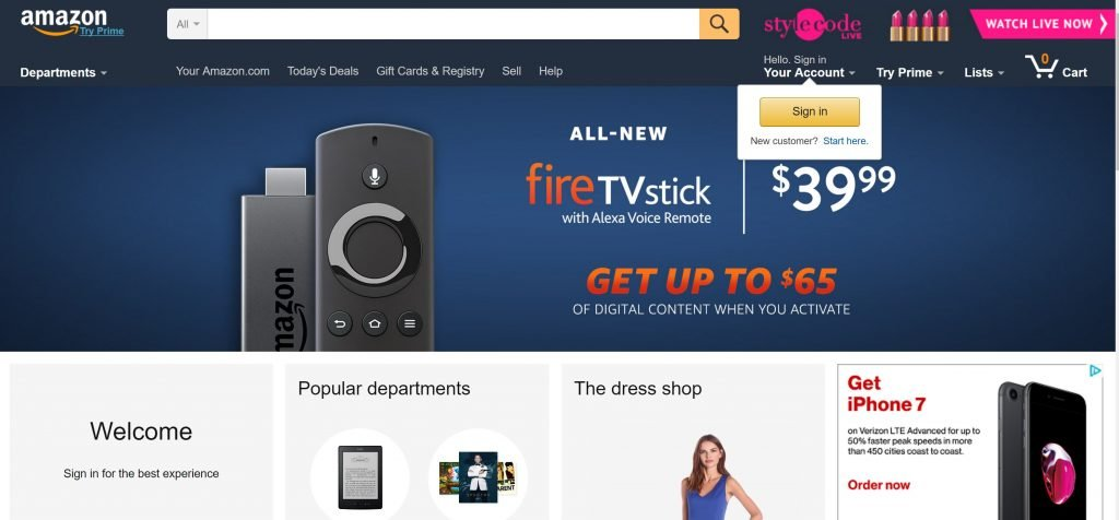 Image of Amazon.com homepage as example of well designed homepage