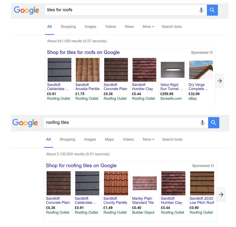 Image of example of broad match search results