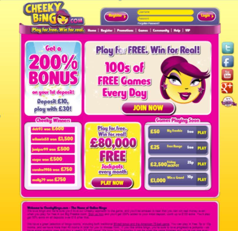Image of Cheekybingo.com homepage