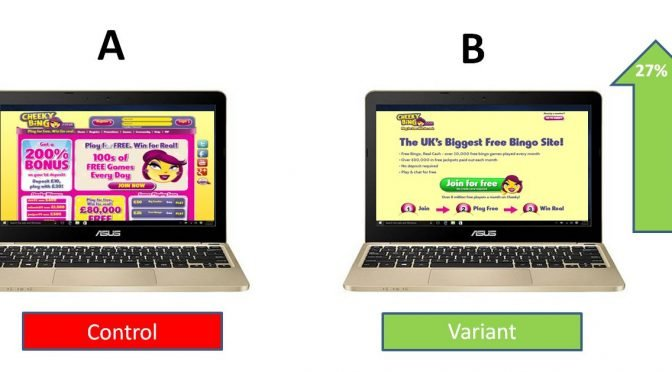 Image of A/B test of homepage vs landing page