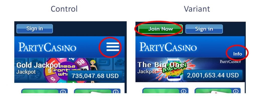 Image of control and variant page for Partycasino.com