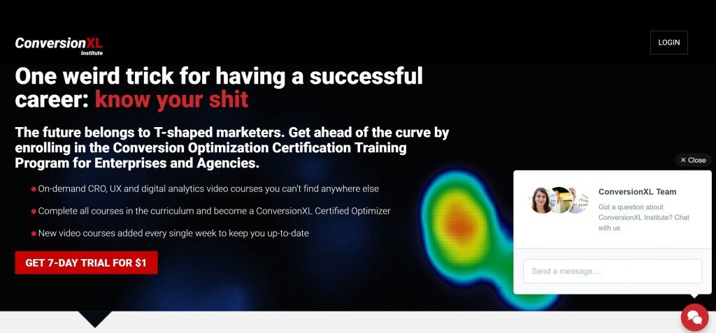 Image of conversionxl.com landing page for CRO training