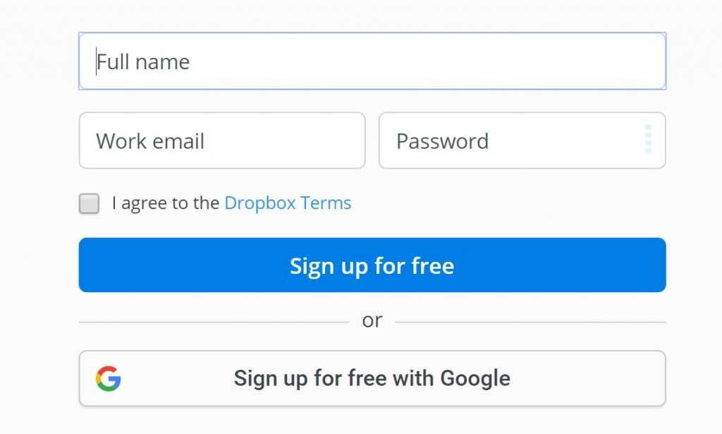 Image of Dropbox.com CTA which uses strong contrast to stand out